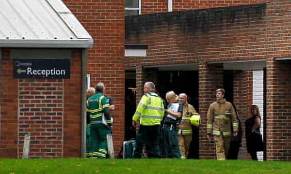 Members of the emergency services attend to the incident at Outwood academy, Ripon.