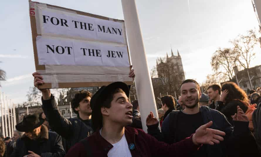 The 'Enough is enough' demonstration outside parliament in March was a protest against Labour's antisemitism.