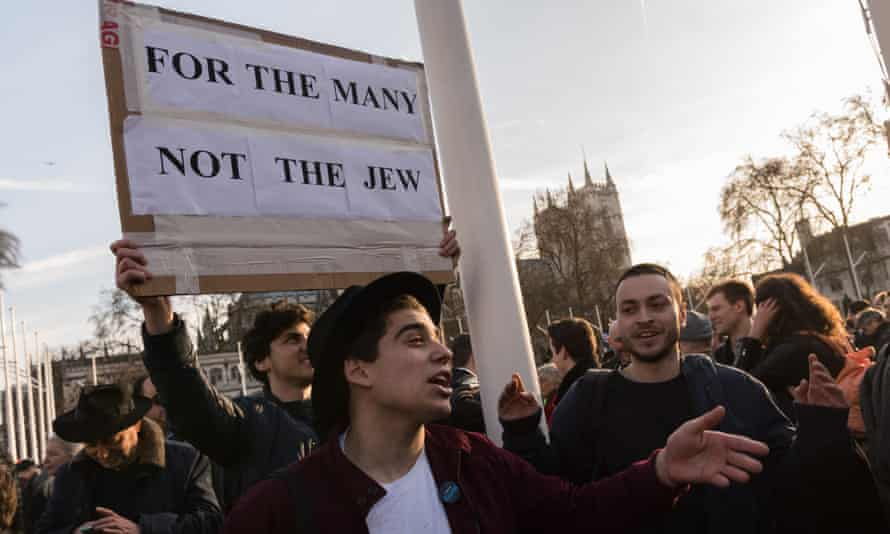 A protest in Parliament Square against antisemitism in the Labour party.