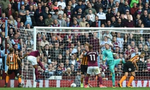 Goalkeeper Allan McGregor of Hull City can only look on as Andre Green's header hits the ground before bouncing over the bar.