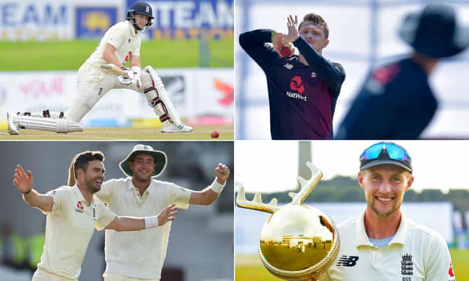 Joe Root reverse sweeps against Sri Lanka, Dom Bess bowls during a training session, Joe Root with the Moose Clothing Cup 2021 trophy after the series win over Sri Lanka and James Anderson celebrates with Stuart Broad against the West Indies in 2017.