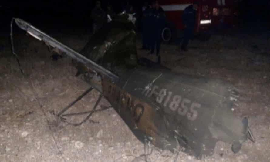 An image purporting to show a downed Russian military Mi-24 helicopter in Armenia.