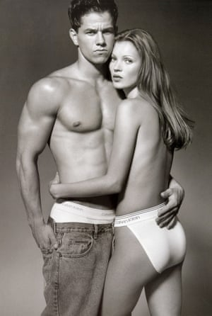 Mark Wahlberg in an embrace with Kate Moss advertising Calvin Klein.