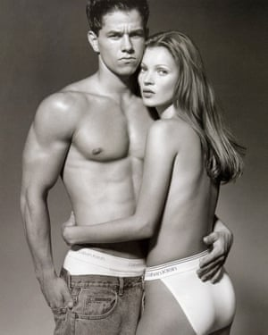 Mark Wahlberg and Kate Moss model Calvin Klein underwear.