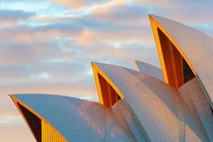 Australia, New South Wales, Sydney, Sydney Opera House, Close up at sunrise