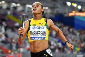 Jamaica's Stephenie Ann McPherson wins the first heat.
