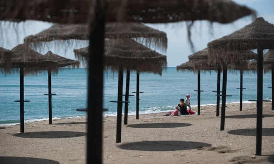 A reopened beach in Málaga, Spain