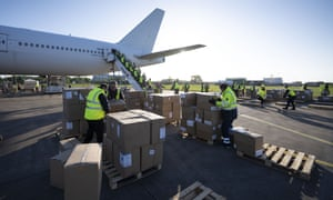 A shipment of PPE from China arriving at Cardiff airport