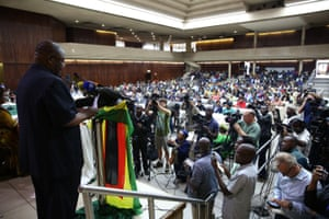 Delegates at the Zanu-PF extraordinary central committee meeting in Harare