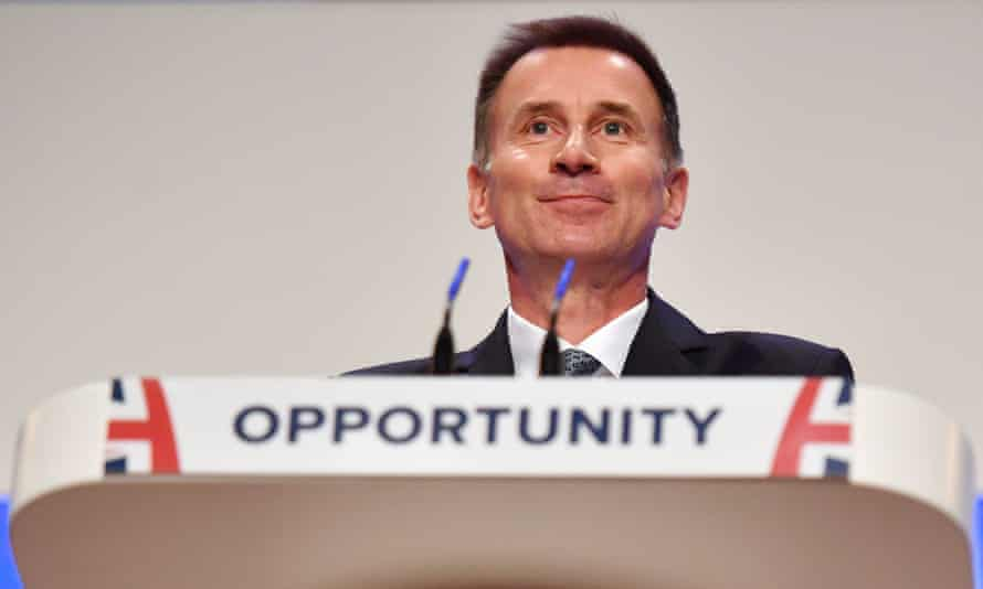 Jeremy Hunt during his speech on the first day of the Conservative party conference in Birmingham.