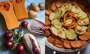 Rachel Roddy's winter veg bake with radicchio: a gorgeous combination of flavours, especially good with cheese on top.