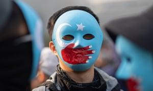A pro-Uighur rally in Hong Kong in 2019.
