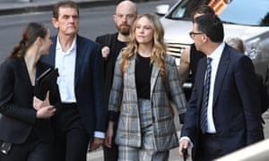 Actor Eryn Jean Norvill, centre, arrives the federal court before giving evidence in the Geoffrey Rush defamation case in Sydney