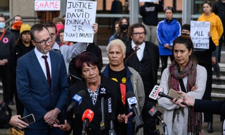 Leetona Dungay, the mother of David Dungay, speaks to media outside the supreme court in Sydney