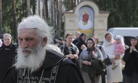 Romanov pictured at the Sredneuralsk convent on 27 April.