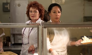 Kate Mulgrew (left) and Selenis Leyva in the new series of Orange Is the New Black.