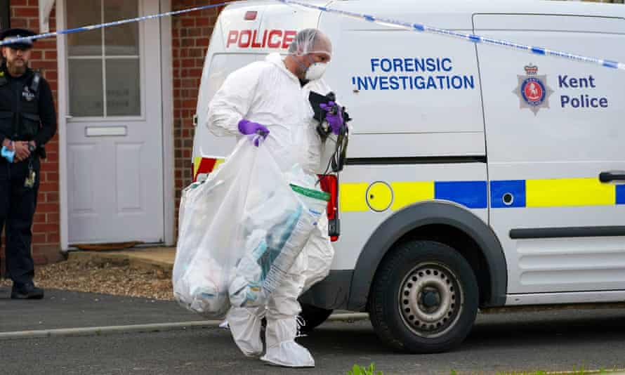 Kent police forensic officers search a property in Aylesham that is linked to inquiries over the death of Julia James.