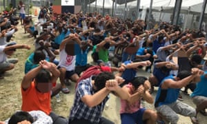 A protest inside the Manus Island detention centre in August.