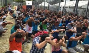 Protest in Manus detention centre, August 2017