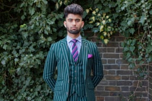 Green chalk stripe suit