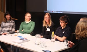 Guardian developers Natalia Baltazar and Emma Milner, Charlotte Fereday from Code First: Girls, Susie Coleman from Robogals and Guardian developer Reetta Vaahtoranta discuss strategies to increase women's participation in programming and technology careers, chaired by Head of quality, Sally Goble.