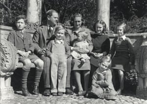 Evelyn Waugh with his family, in 1951.
