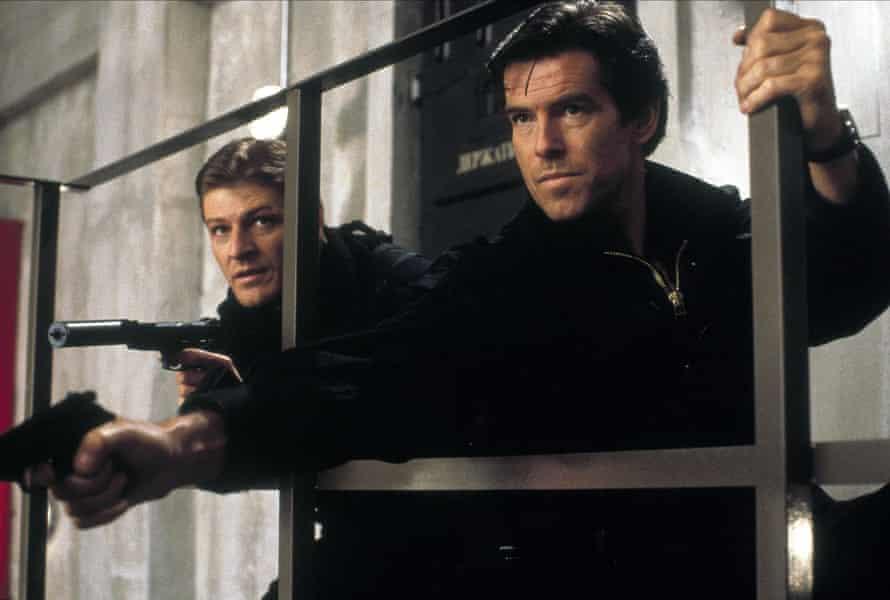 Pierce Brosnan with Sean Bean in GoldenEye, Brosnan's debut as James Bond