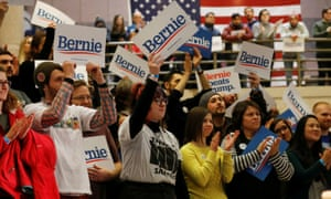 Supporters of Bernie Sanders at a campaign event in Des Moines, Iowa on 20 January 2020.