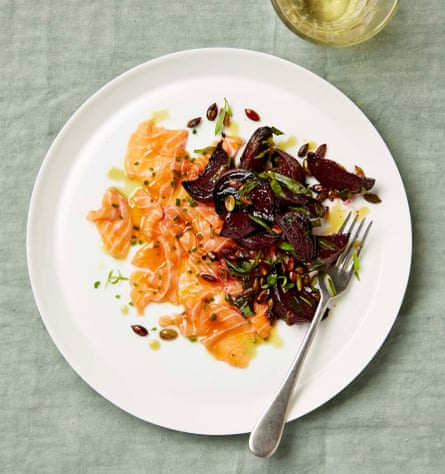 Salmon ceviche with roast beetroot, pumpkin seeds and tarragon