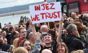 Corbyn supporters show their faith at a speech in West Kirby, Merseyside