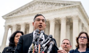 Neal Katyal speaks to the media outside the Supreme Court in 2018 after arguing against the Trump administration in a case.
