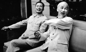 Pham Van Dong, left, the Vietnamese prime minister, sitting with the president, Ho Chi Minh, in Hanoi in 1965.