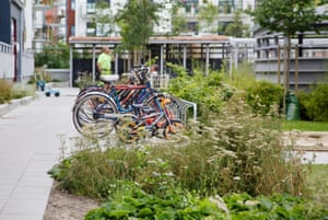 A bicycle parking area in the Western Harbour, Malmö.
