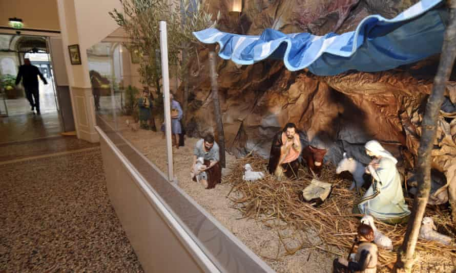 A nativity scene displayed at Béziers city hall in December 2014