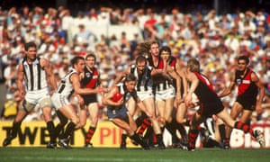 Tony Francis of the Magpies during the 1990 AFL Grand Final played between the Collingwood Magpies and the Essendon Bombers held at the Melbourne Cricket Ground 1990.
