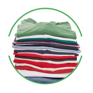 Pile of clothes cut-out inside green-rimmed circle