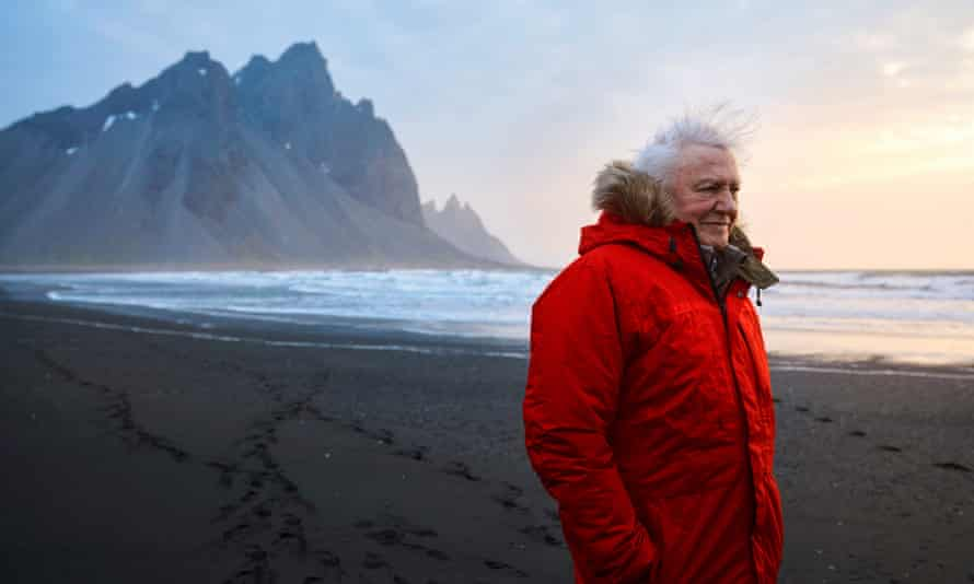 David Attenborough on location filming Seven Worlds, One Planet.