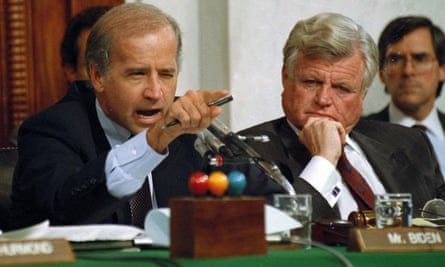 Joe Biden, with Edward Kennedy, makes a point during Clarence Thomas' confirmation hearing in 1991.