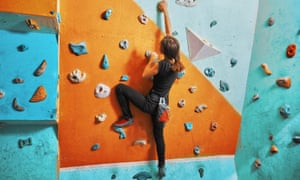 A climbing wall at an activity centre.