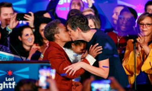 Lori Lightfoot kisses wife Amy Eshleman during the election night party in Chicago on Tuesday evening.