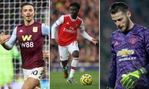 Jack Grealish of Aston Villa; Bukayo Saka of Arsenal; David de Gea of Manchester United.