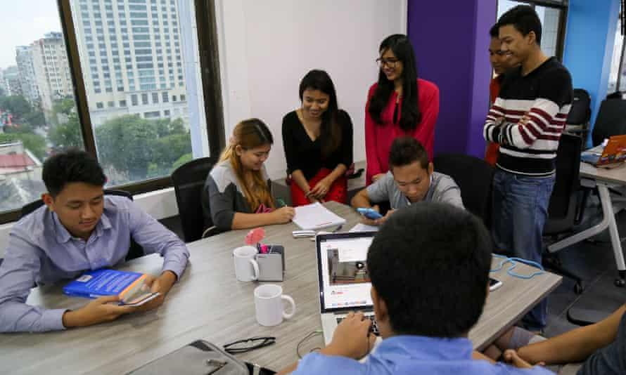 Entrepreneurs in a Yangon office