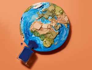 Globe made with cosmetics for Sali Hughes feature on eco conscious beauty brands. Set design: Rhea Thierstein