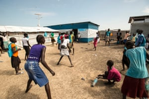 Children play during the school break in the Unicef-supported primary school in Malakal protection of civilians site, in South Sudan, 2015