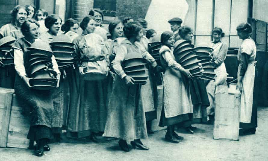 Women packing steel helmets to be shipped to western front, Easter 1916.
