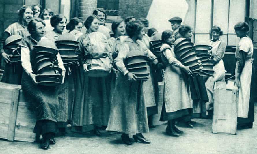 Women packing steel helmets during the first world war, Easter 1916