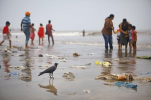 Mumbai, India. Plastic at Juhu Beach. Today we produce about 300m tonnes of plastic every year - nearly equivalent to the weight of the entire human population.