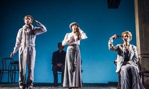 The messiness and self-deceptions of life … Pushkin Drama Theatre's The Cherry Orchard, with, from left, Alexander Petrov, Natalya Reva-Ryadinskaya and Viktoriya Isakova.