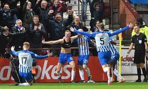 Ross Millen celebrates his goal for Kilmarnock against Hearts.