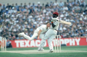 Viv Richards, possibly the greatest batsman of all time, dispatches an England bowler for four in 1984.
